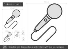 Cord microphone line icon. Stock Photo