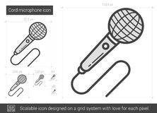 Cord microphone line icon. Royalty Free Stock Photos