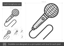 Cord microphone line icon. Royalty Free Stock Images