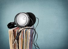 Cord. Old plastic earphones melody heap input royalty free stock photography