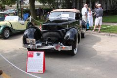 1936 Cord 810 Phaeton. The 1936 Cord Phaeton, owned by Terry and Connie Peshia. The 810 had front wheel drive with independent suspension, 125 HP from a high Royalty Free Stock Image