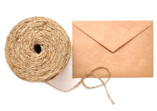 Cord and post parcel Royalty Free Stock Images