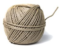 Cord skein, hemp roll, linen cord natural ball, isolated on white. Background royalty free stock image