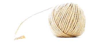 Cord skein, jute roll, traditional ball isolated on white background Stock Photo