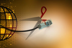 Cord wire with scissor Royalty Free Stock Photography
