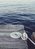 Corda arrotolata bianca Fotografia Stock Libera da Diritti