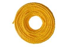 Corda arrotolata gialla Fotografia Stock