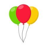 Corda colorida do hélio do carnaval dos balões Para a celebração do aniversário da festa de anos ilustração royalty free