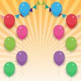 Corda com balões coloridos ilustração stock