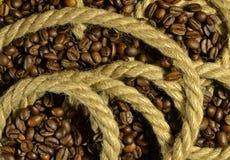 Corda con caffè fotografia stock libera da diritti