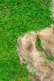 Corda da fibra de coco feita da casca entrançada do coco Foto de Stock