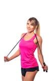 Corda da ginástica aeróbica da mulher isolada no fundo branco Imagem de Stock Royalty Free