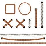Corda de Autical Em volta de e quadros quadrados da corda, beiras do cabo ilustração stock