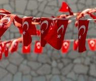 Corda de bandeiras turcas Fotografia de Stock Royalty Free