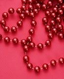 Corda de grânulos vermelhos. fotografia de stock