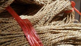 Corda de Manila e corda plástica vermelha Fotos de Stock