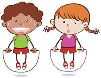 Corda de salto do menino e da menina ilustração royalty free