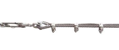 Corda del metallo da acciaio isolato su bianco Fotografia Stock