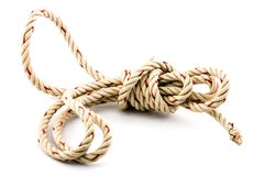 Corda del nodo nel fondo bianco Fotografia Stock Libera da Diritti