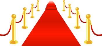 Corda del velluto e del tappeto rosso Fotografia Stock