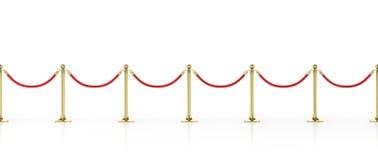 Corda della barriera isolata su bianco Recinto dell'oro Lusso, concetto di VIP Attrezzatura per gli eventi illustrazione 3D royalty illustrazione gratis