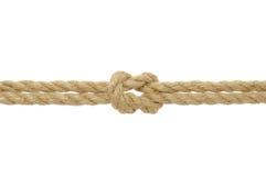 Corda della iuta con il nodo di scogliera Immagini Stock Libere da Diritti