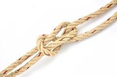 Corda della iuta con il nodo semplice Fotografia Stock