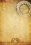 Corda della nave sulla vecchia priorità bassa di carta della pergamena immagini stock