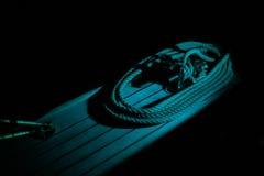 Corda di barca nella notte Fotografie Stock Libere da Diritti
