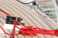 Corda di barca rossa Immagini Stock
