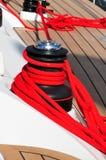 Corda di barca rossa Fotografia Stock Libera da Diritti