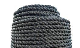 Corda do plástico do rolo Corda preta grossa foto de stock