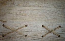 Corda e fundo de madeira velho da textura Fotografia de Stock