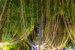 A corda exterior decorativa ilumina a suspens?o na ?rvore no jardim na noite fotografia de stock