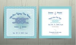 Corda nautica dell'ancora che lega la partecipazione di nozze del nodo su ciano fondo Royalty Illustrazione gratis