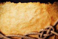 Corda su vecchio documento Fotografie Stock Libere da Diritti