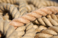 Cordage. A lot of ropes on a ship Royalty Free Stock Photography