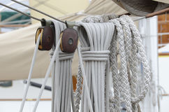Cordage, ropes and pulleys. On the old sailing boat Stock Photo