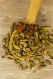 Cordamon and star anise in a wooden spoon on a wooden background stock photo
