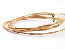 Cordas Coiled da guitarra acústica Fotografia de Stock