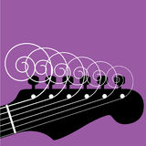 Cordas Curly da guitarra Fotografia de Stock Royalty Free