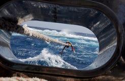 Cordas da amarração durante uma tempestade Imagem de Stock