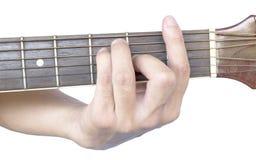 Cordas da guitarra: Major de F Fotografia de Stock