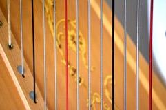 Cordas da harpa do pedal, close up Imagens de Stock