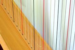 Cordas da harpa do pedal, close up Foto de Stock