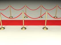 Cordas de veludo e tapete vermelho Fotografia de Stock