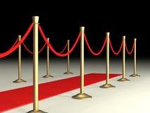 Cordas de veludo e tapete vermelho Imagens de Stock