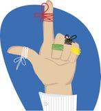 Cordas do lembrete nos dedos Fotos de Stock Royalty Free