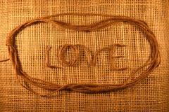 Cordas feitas da juta e do texto Imagem de Stock Royalty Free