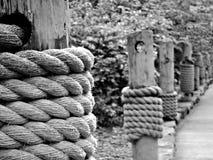 Cordas no cais Fotografia de Stock Royalty Free